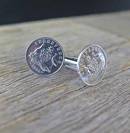 THREE PENCE STERLING SILVER CUFFLINKS