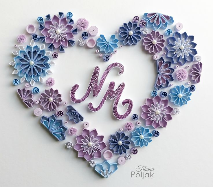 Quilled heart, quilled initials, quilled letter N, quilled letter M, quilled flowers, quilling by Tihana Poljak