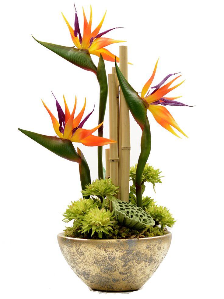 Strelizia arrangement with bamboo sticks.