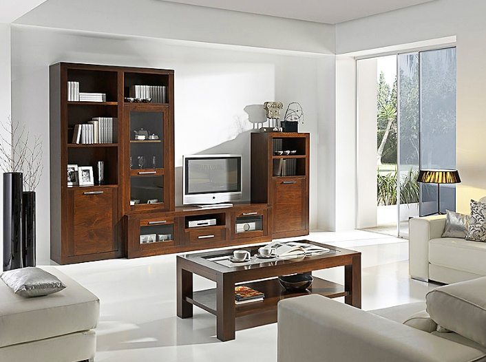 Composici n de muebles para sal n realizados en madera de for Composicion de muebles de salon