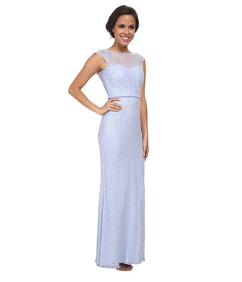 Badgley Mischka Sequined Lace Gown Lilac - 6pm.com