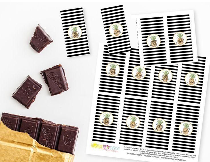 Printable Pineapple MINI Hershey Bar Wrappers, Printable Aloha Luau Birthday MINI Candy Bar Wrapper, by sunshinetulipdesign on Etsy