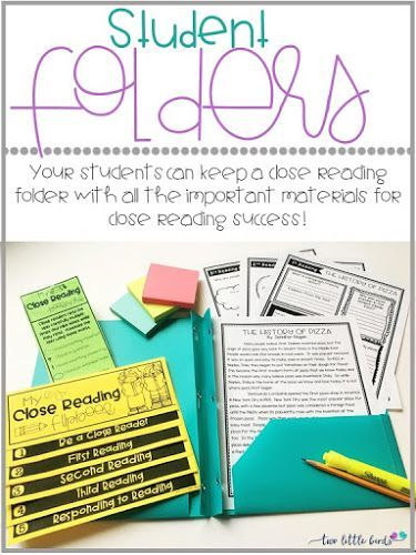 Free student folder labels! Help students keep their close reading organized in a close reading folder.