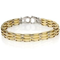 14k Bonded Gold and Silver Men's 8.9mm Bracelet, 8""