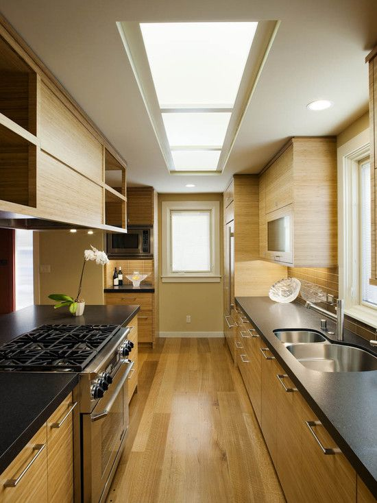 If i move the fridge all the way down to the end kitchen for Two way galley kitchen designs