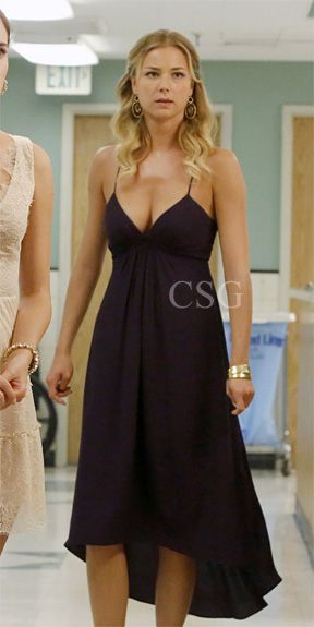 "Revenge Style & Fashion: Emily Van Camp, as Emily Thorne, wore this lightweight crepe Rebecca Taylor Bare Back Dress with a plunging V neck and a pleated waist on ""Revenge"" Season 2 ""Intuition"""