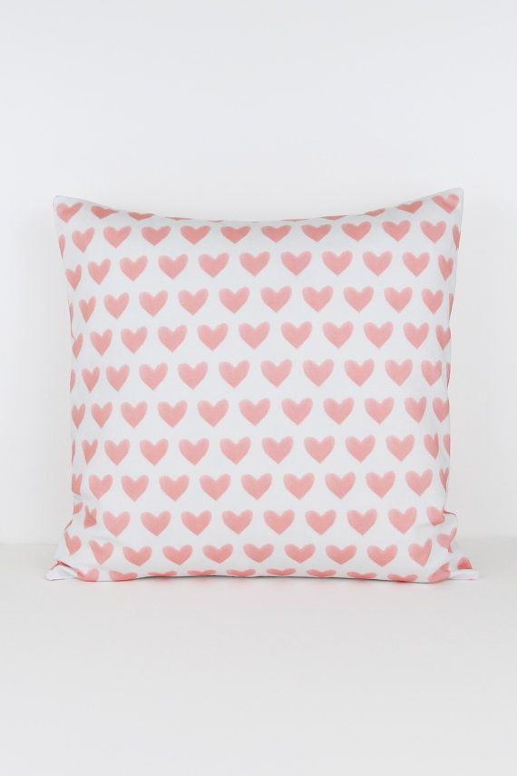 Watercolor Hearts in Coral Pillow Cover