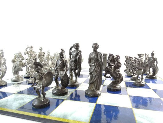Antique Chess Pieces - Metal Chess Pieces - Roman Chess Pieces - Metal Chess Set - Antique Chess - Stylish Chess Set - Christmas Gift