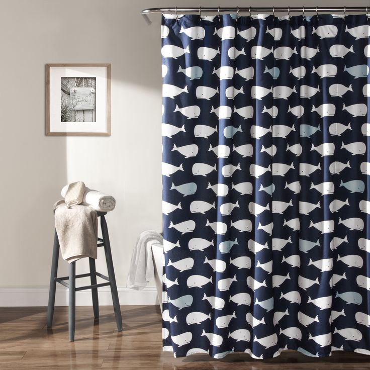 Add a bit of playful fun to your bathroom with this whimsical shower curtain. The curtain features a repeating whale pattern that will liven up your bathing area.