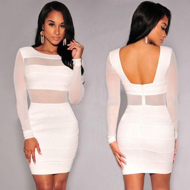XS-XXL Sexy Bandage Dress New Winter Black White Dress Long Sleeve Mesh Patchwork Hollow Out Pencil Bodycon Dress Female Dresses