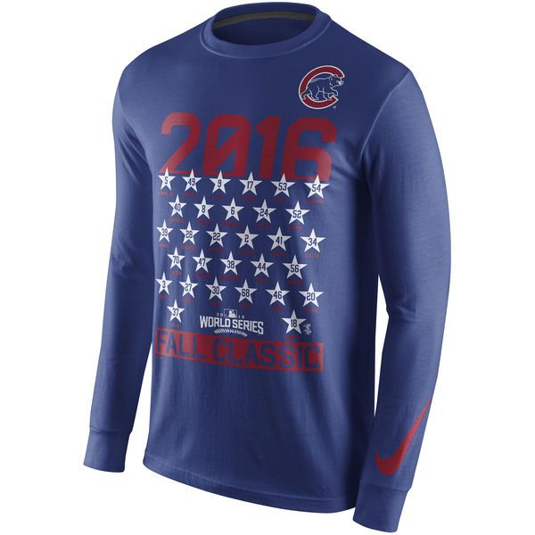 Chicago Cubs Nike 2016 World Series Bound Roster Long Sleeve T-Shirt - Royal - $29.99