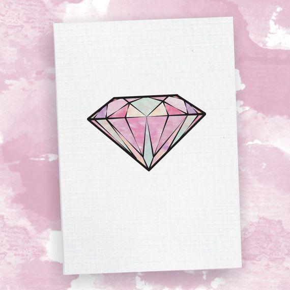 Diamond Card - Watercolour Illustration Birthday Card, Engagement Card, Wedding Card, Greeting Card, For Her