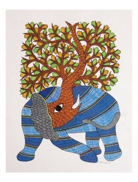 Tree Elephant Gondh Painting By Rajendra Shyam 14in x 10.5in