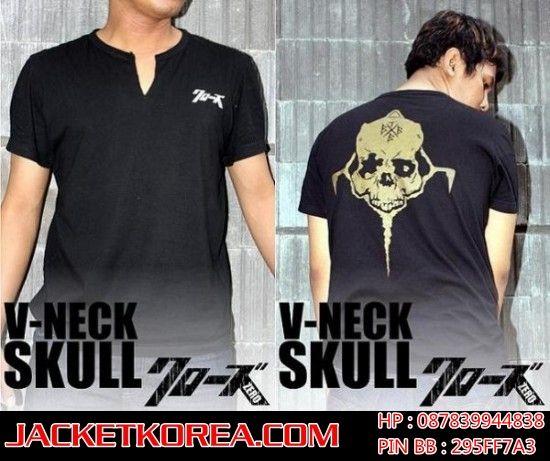 Djual Kaos Crows Zero V-Neck Skull Kualitas super. Pemesanan dapat dilihat di board atau klik link dibawah