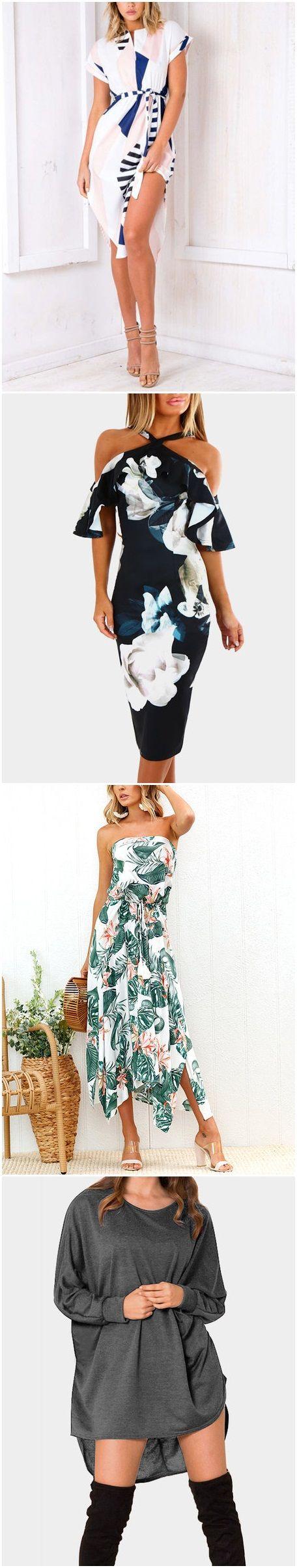 Pattern V-neck Short Sleeves Drawstring Waist Dress