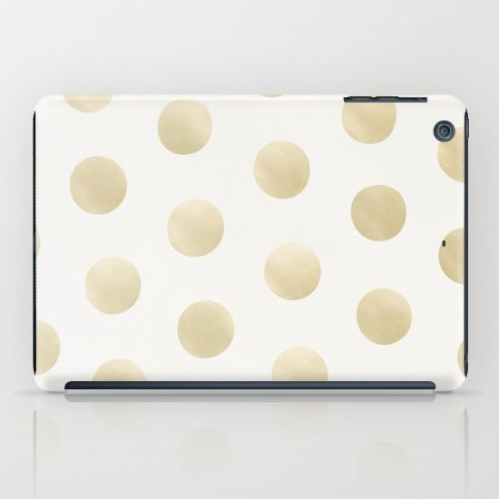 Buy Gold Polka Dots - white iPad Case by NORDIK. #ipadcase #ipad #case #polkadot #dots #polkadots #gold #goldprint #goldpattern #golddots #pattern #accessory #decor #trending