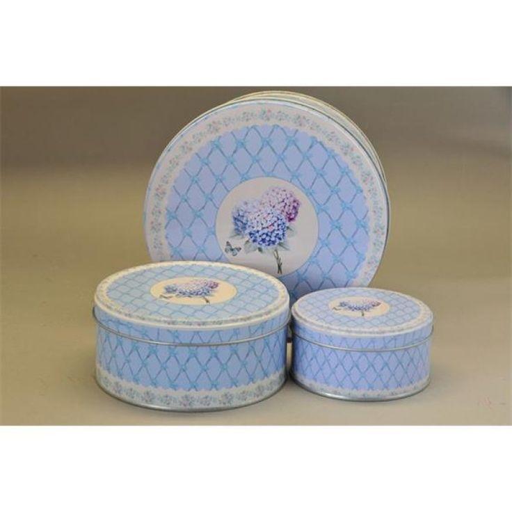 Doboz kerek hortenziabádog 18&13, 5&10cm krém-kék-lila S/3 SSS