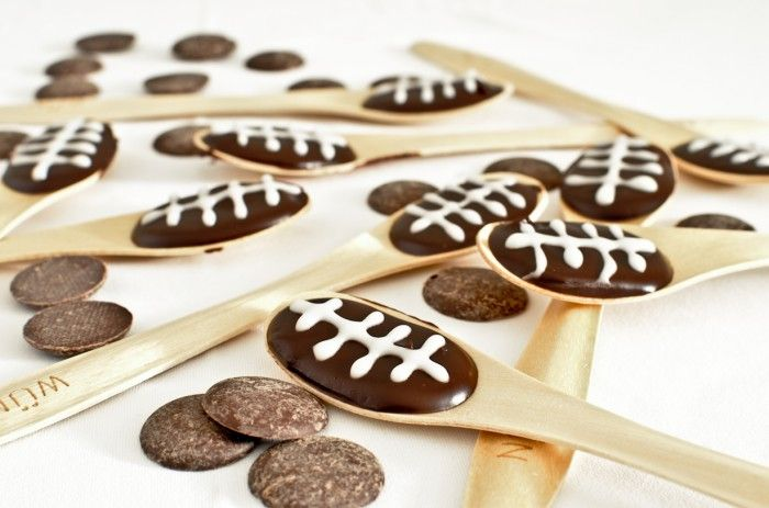 "Chocolate Orange ""Football"" Spoons for Super Bowl Sunday"
