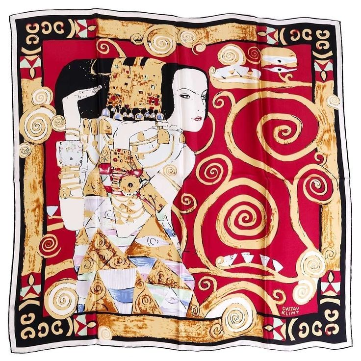 Silk Scarf with motif Expectation by Gustav Klimt silk screened by hand #Rosberg #Scarf