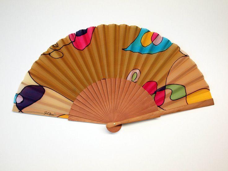 Handpainted Silk hand fan-Wedding hand fan- Silk hand fan-Bridesmaids- Spanish hand fan by gilbea on Etsy