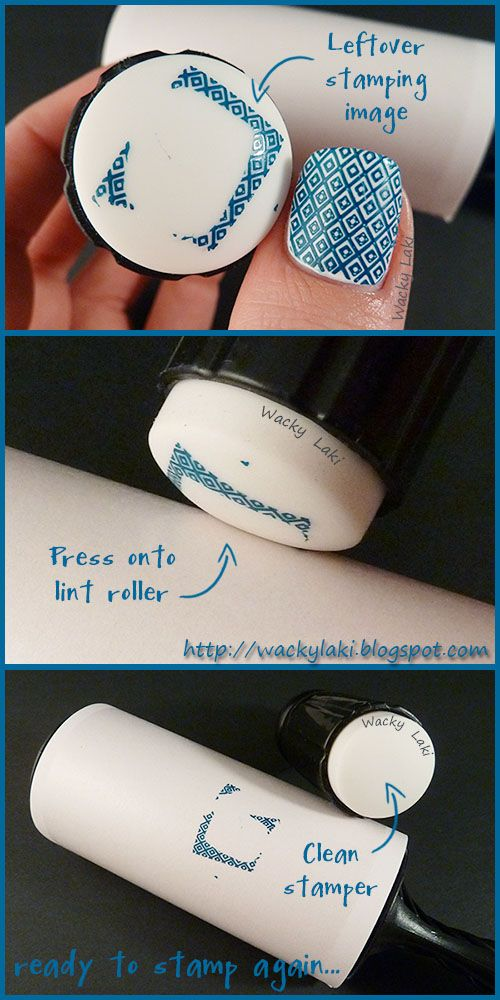 Great tip! I always risk messing up the nails I've done by reaching for remover to clean the stamper!   Wacky Laki: Lint Roller Stamping Cleanup