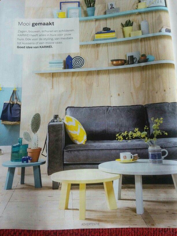 Karwei houten bijzettafeltjes, zelf in elke kleur te schilderen