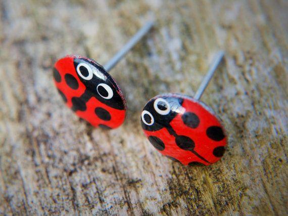 Cute hand painted red ladybug studs with polka dots. Handmade with love by #CinkyLinky