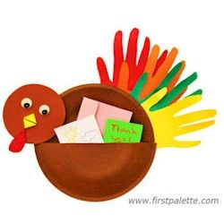 Paper plate turkey with thanksgiving note pouch.
