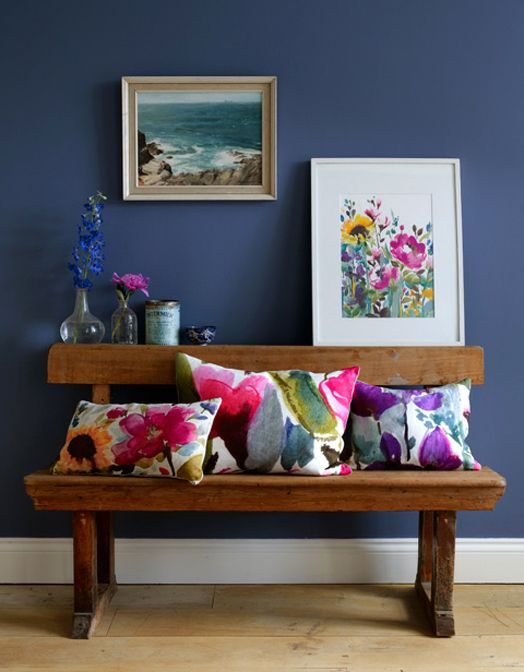 vintage bench cushions print Bluebell Gray