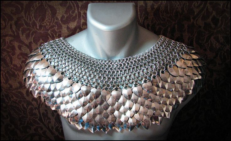 Deluxe Scale Mail Chain mail Mantle Stainless steel collar Dragon Scale Punk. $405.00, via Etsy.