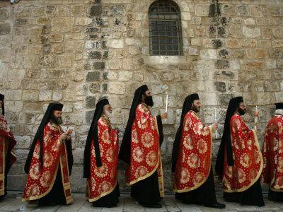 Greek Orthodox Bishops at Easter Mass, Jerusalem, Israel  Photographic Print  by Emilio Morenatti