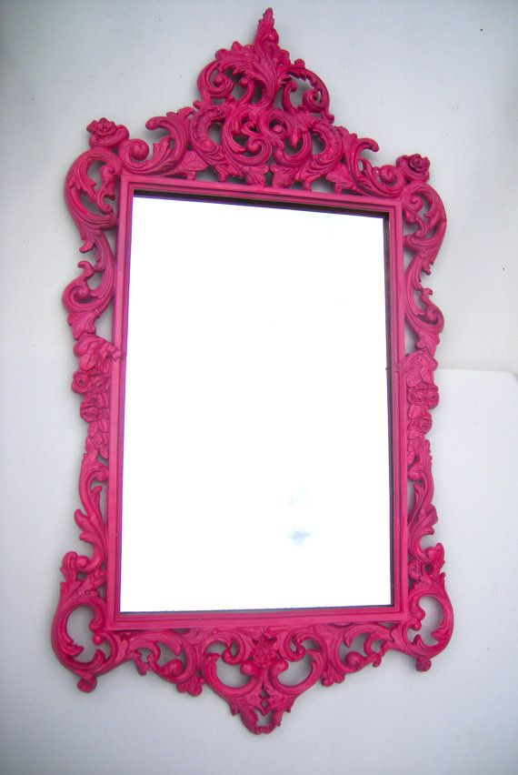Hollywood Regency Vintage hot pink mirror ornate by RococoDecor