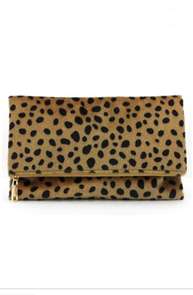Leopard Synthetic Fur Design Foldable Clutch.  Also comes with Chain strap. 13 x 8 x 1.5