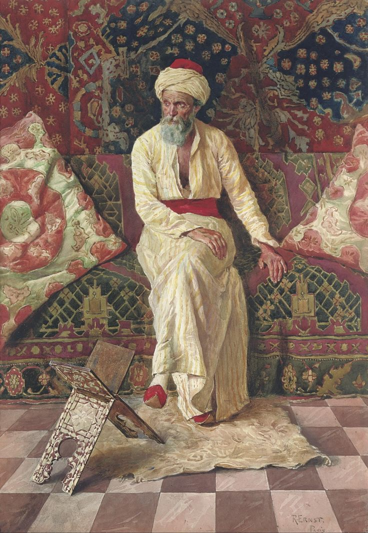 Rudolf Ernst, An Older Oriental in Contemplation, date unknown, Watercolor and pencil on paper, 57,8 x 41,3 cm, Private Collection