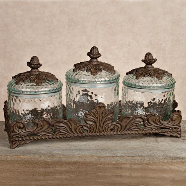 Bon The GG Collection Baroque 3 Piece Glass Canister Set: Use For Storage In A