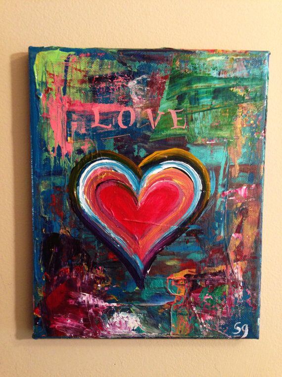 8 x 10 abstract heart painting by Sam Glenn