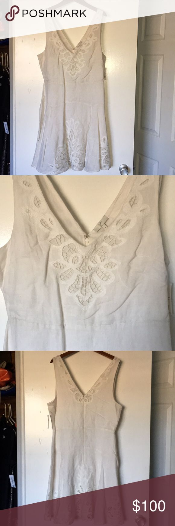 """Gorgeous Ivory Joie Dress Brand new with tags! Cotton linen blend with beautiful embroidery detail. 19"""" armpit to armpit, 16"""" at the waist and about 23"""" across the hip. Too small for me so a great deal for you! Would make a beautiful dress for a bridal shower! Joie Dresses Midi"""