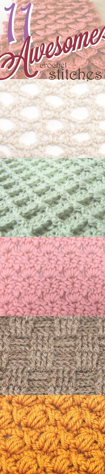 11 Awesome Crochet Stitches - Broomstick Lace, Crocodile Stitch, Star (Daisy) Stitch, Boxed Puff Stitch, Waffle Stitch, Intertwined Lacets Stitch, Cross-Over Long Double Crochet, Peacock Fan Stitch, Primrose Stitch, Bullion Stitch, Basketweave Stitch.