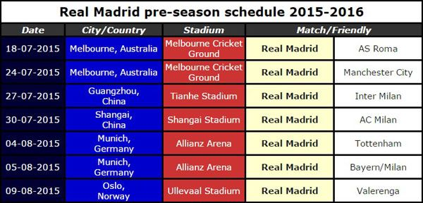 Real Madrid 2015-16 Pre-Season ScheduleReal Madrid 2015-16 Pre-Season Schedule
