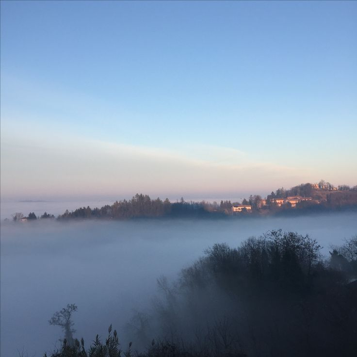 Monferrato hills, fog down blue sky up