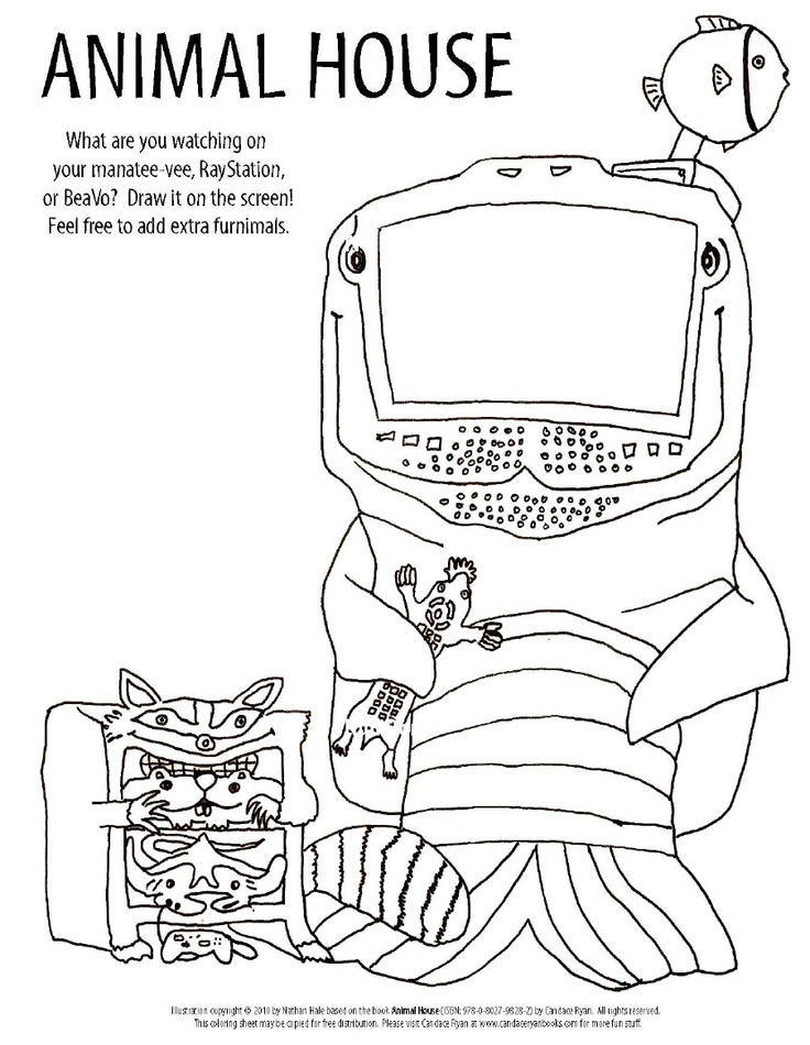 Candace Ryans ANIMAL HOUSE Coloring Activity Sheet 1