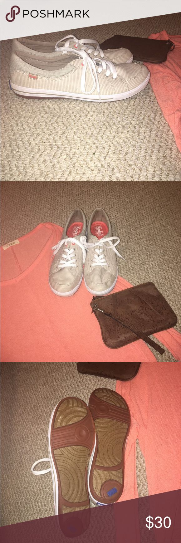 Keds Tennis Shoes These are a very comfortable yet stylish pair of Keds. They are tan and white striped. They have only been worn once, so they are in great condition. Keds Shoes Sneakers