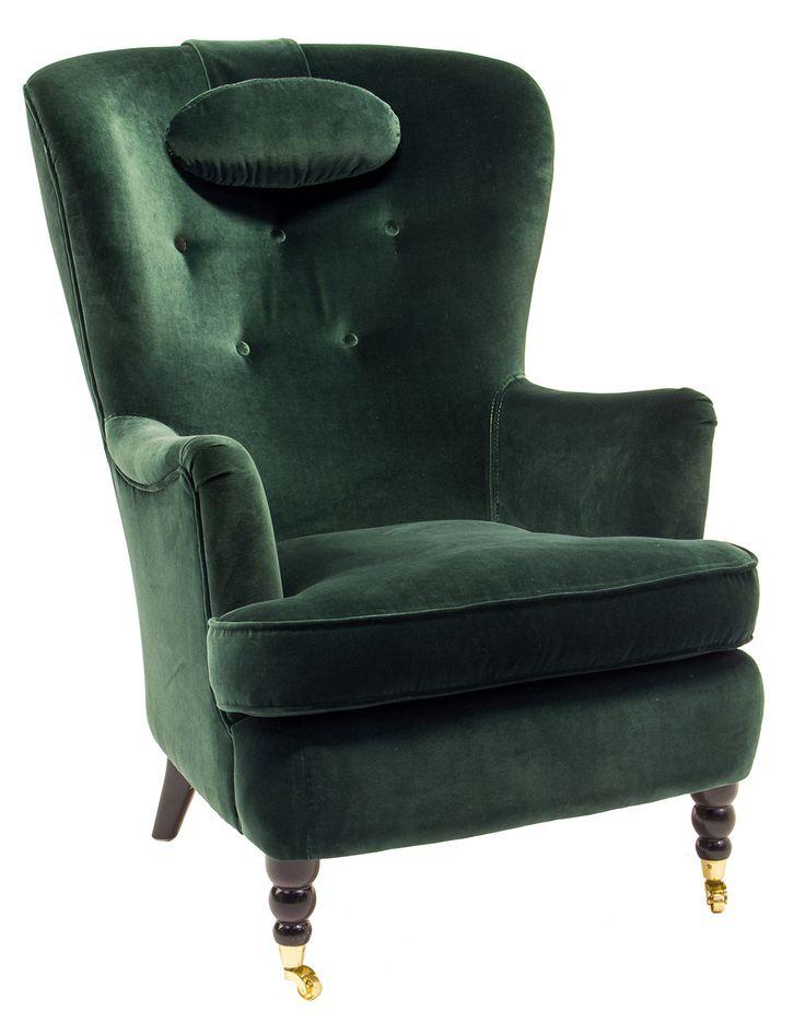 Fåtölj Carina i tyg Ritz grön med svart ben, mässinghjul och knappar i rygg. En rokokoinspirerad fåtölj som blev Stockholmsmässan stora succé.