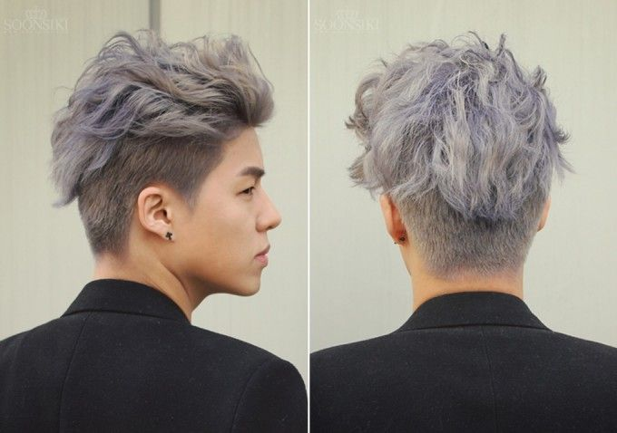 Asian man's undercut with bleached white/purple top