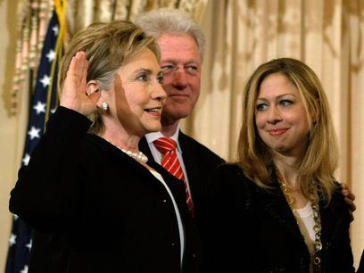 Hillary Clinton  avec son mari Bill et sa fille Chelsea