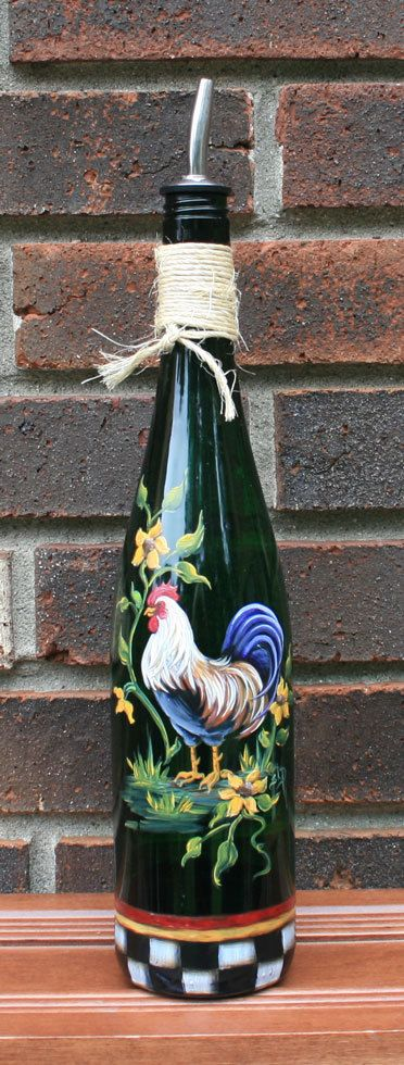 Olive Oil Dispenser with Handpainted Rooster by JCandmeArt on Etsy, $26.95
