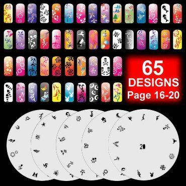 GotHobby 5 Airbrush Nail Art Stencil Sheet Pattern Kit Pages 16-20 -- This is an Amazon Affiliate link. See this great product.