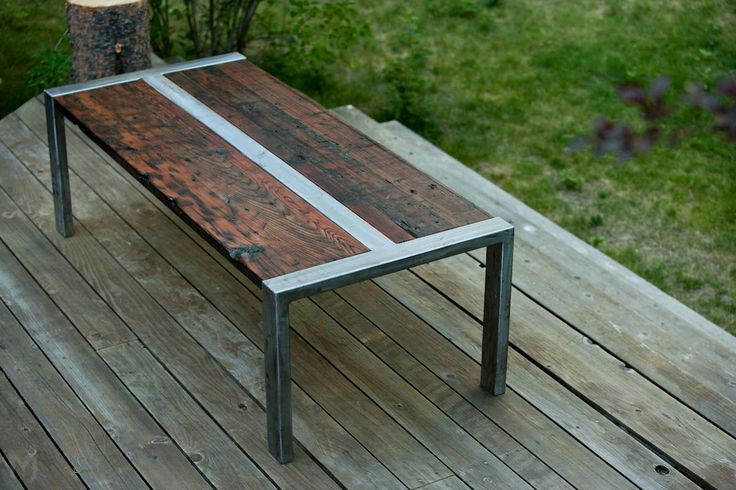 Idea of coffee table design    Industrial Zeeva Coffee Table Reclaimed Redwood and Steel. $1,295.00, via Etsy.