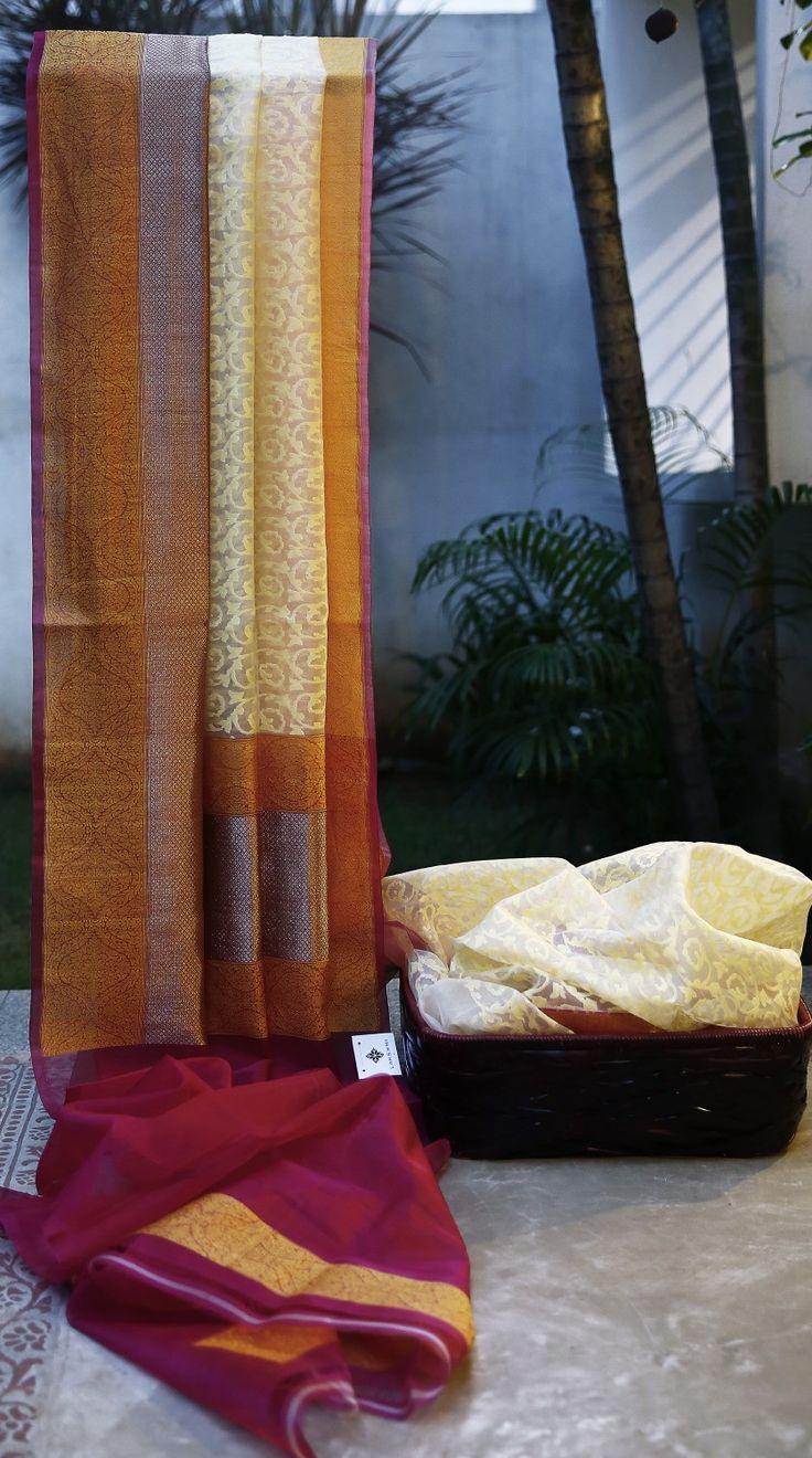 Lakshmi Handwoven Banarasi Kora Silk Sari