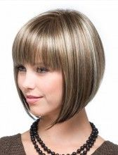 Kurze Straight Mix Farbe Fashion Full Bangs Soft Touch Bob Perücke